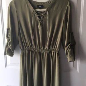 Worn once! Army green dress with neck detail